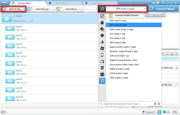 Add CD Files to Any Audio Converter