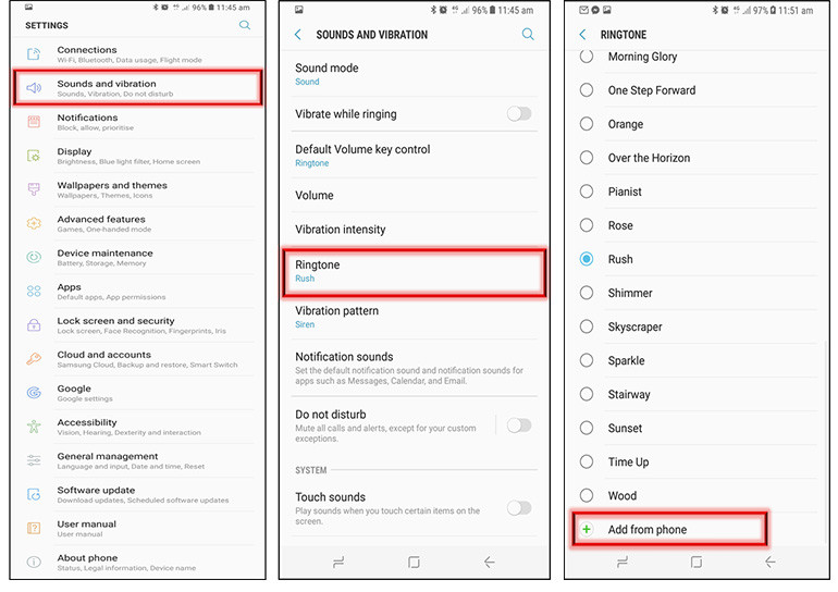 how to set custom message tone on samsung galaxy s9