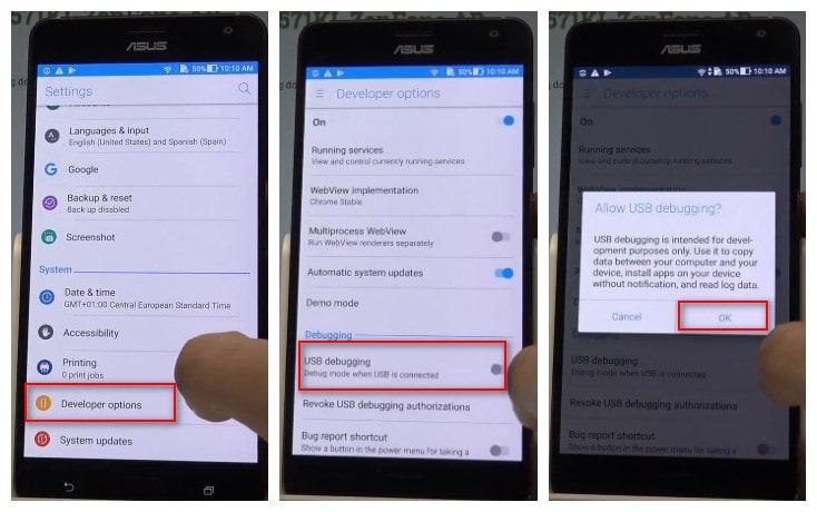How to enable Developer Options/ USB Debugging in Asus Zenfone