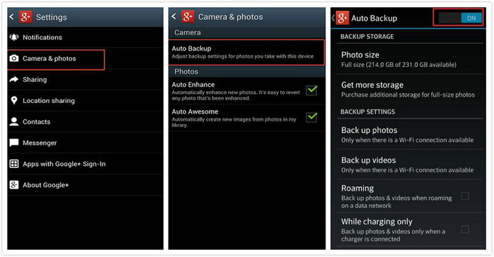 Backup Android Photos to Google Plus