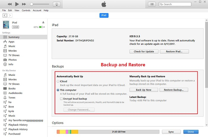 How to backup your ios device