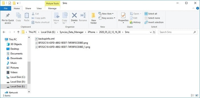 open iPhone SE messages backup folder