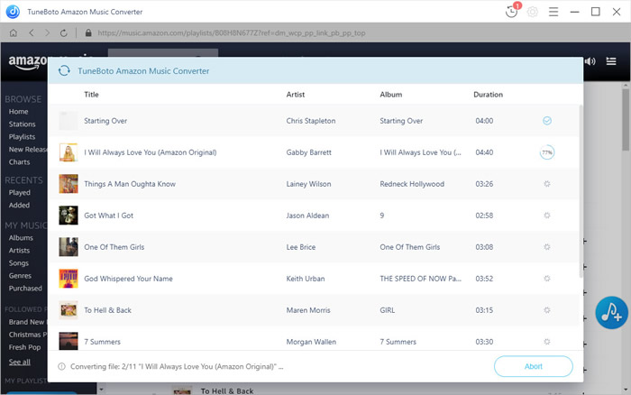 start conversion of Amazon Music