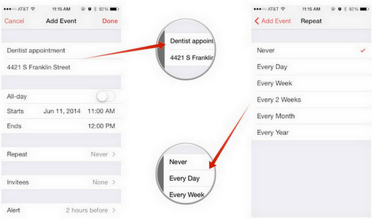 create a calendar event on iPad
