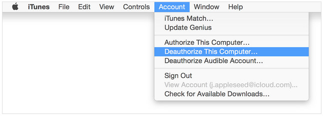 deauthorize computer using iTunes