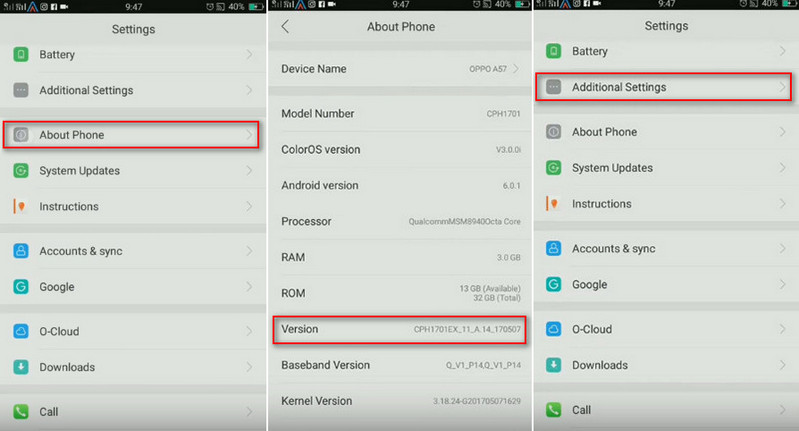 How to Enable USB Debugging Mode on OPPO A37/A39/A57/A59/A77