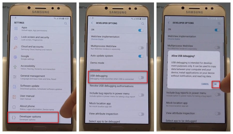 How to Enable USB Debugging Mode on Samsung Galaxy J2/J3/J5/J7