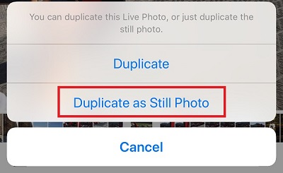 turn live photos into still photos