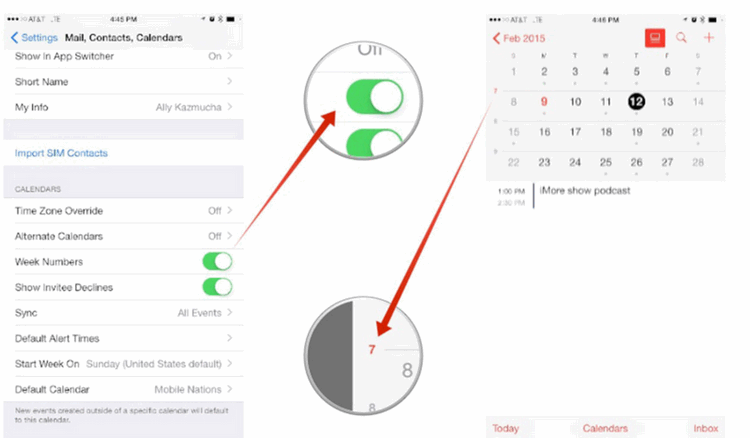 enable week numbers in Calendar for iPad