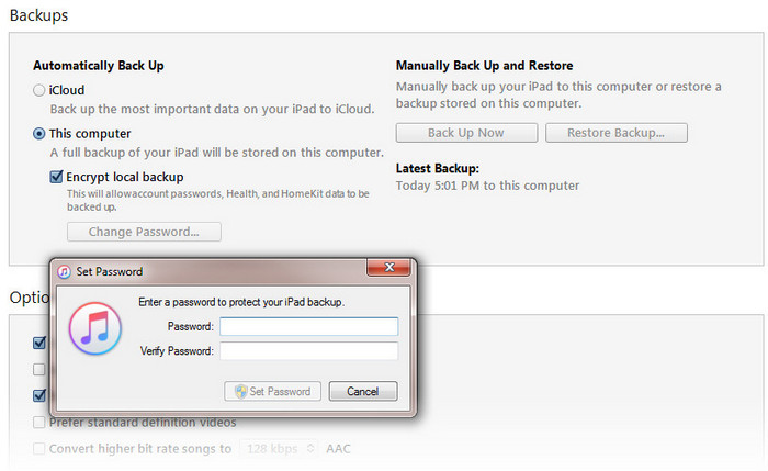 encrypt local backup itunes