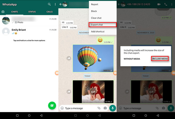 export photos from whatsapp