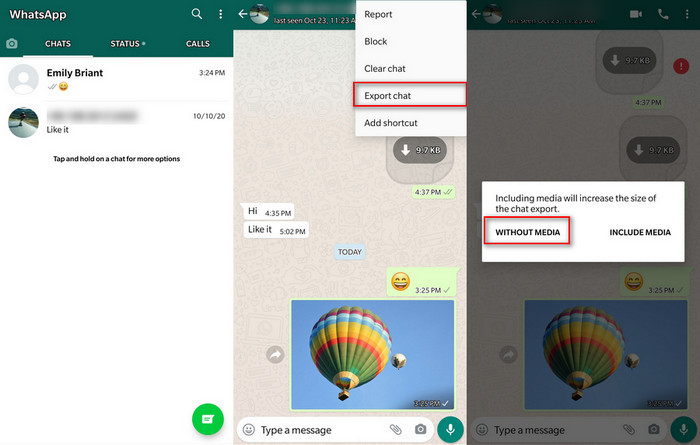 export a group of Samsung whatsapp