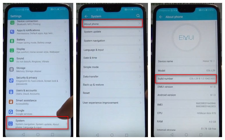 enable debugging mode on Huawei Honor 10