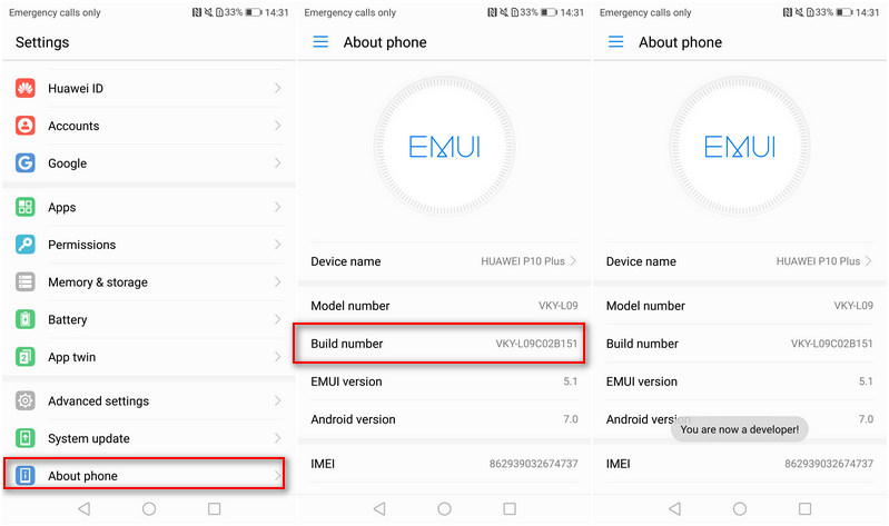 Enable Developer Option on Huawei P10