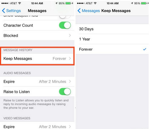 iphone messages setting