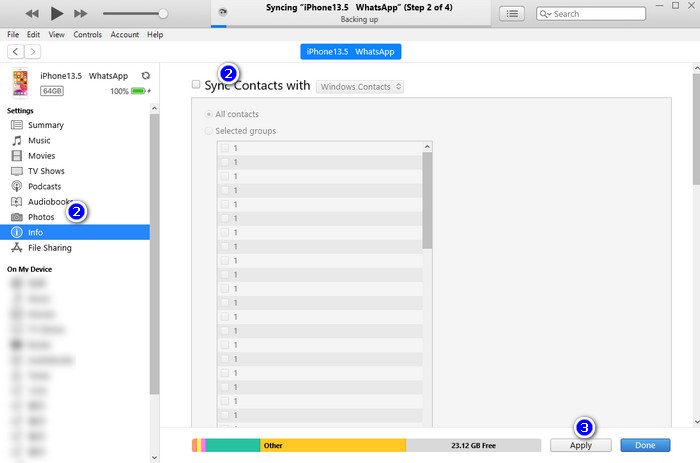 Backup iPhone Contacts with iTunes