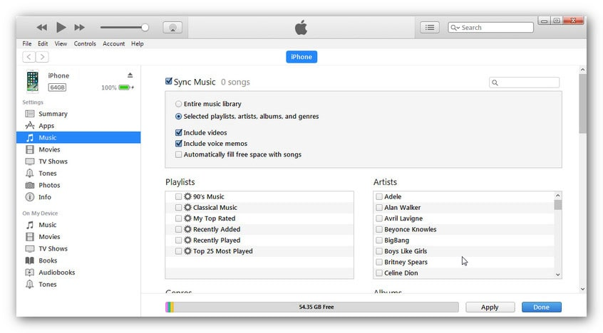 sync itunes music to iPhone XS