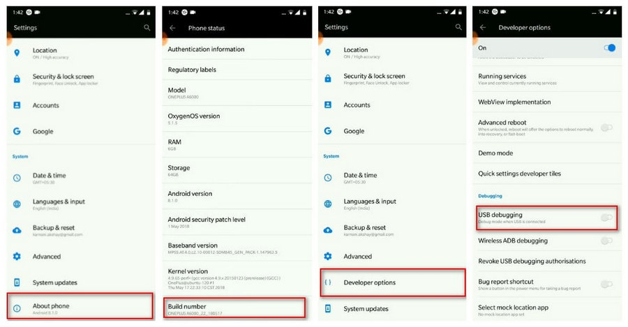 How to Enable USB Debugging on OnePlus 6