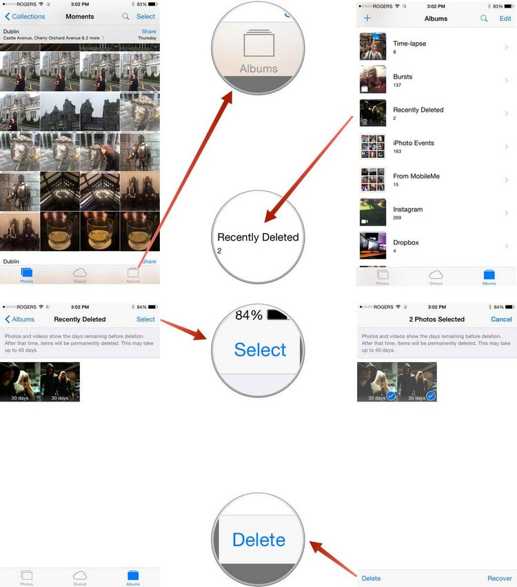 delete photos on iPad