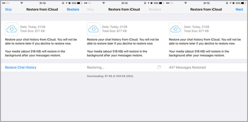 recover whatsapp chats from iCloud