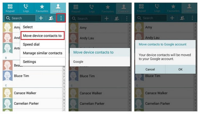 Samsung Contacts to Google