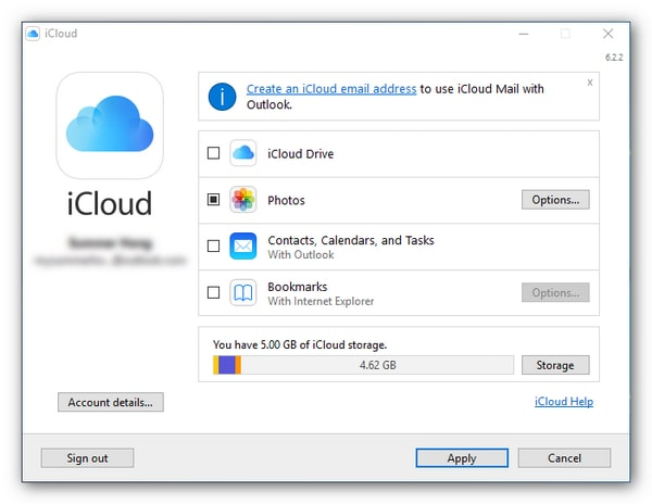 set icloud for windows