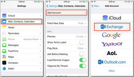 sync outlook contacts to iphone with exchange