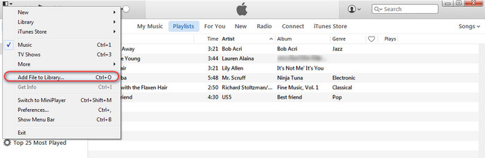 import music to iTunes library
