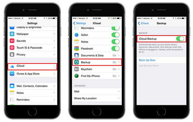 backup iphone 6s plus to icloud
