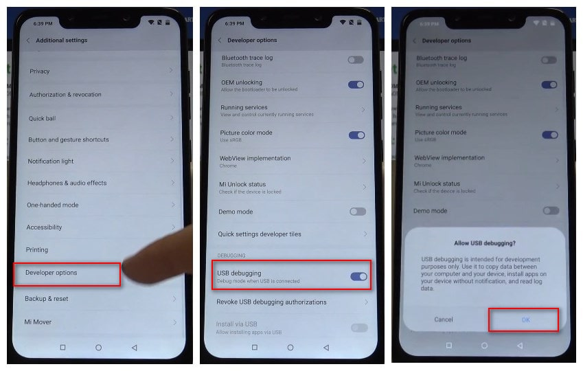 enable debugging mode on Xiaomi Pocophone F1