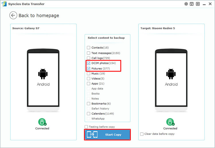android to android photos transfer directly