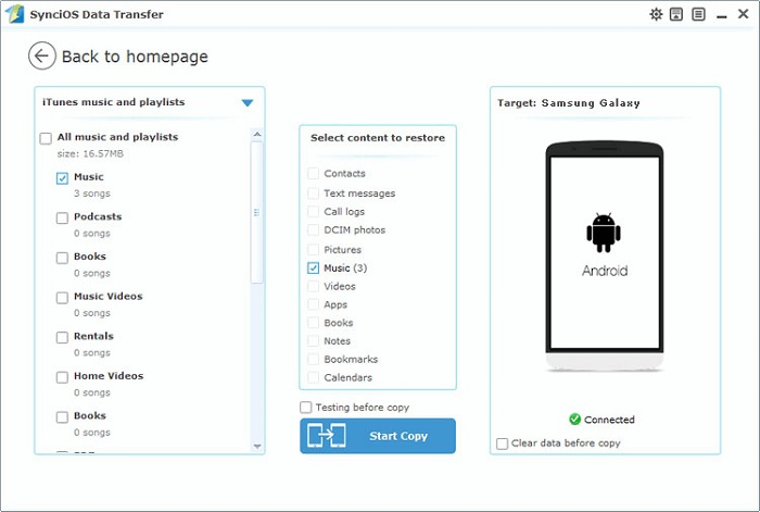 one-click sync itunes music to Android