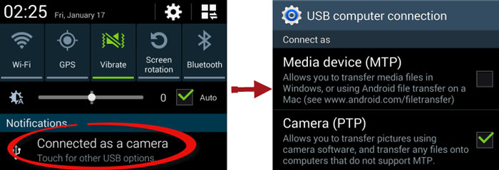 Mode stockage usb android webcam