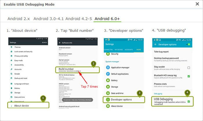enable usb debugging on android 4.2 or above