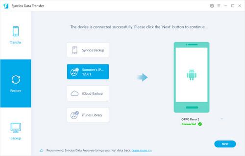 transfer from iTunes backup to oppo