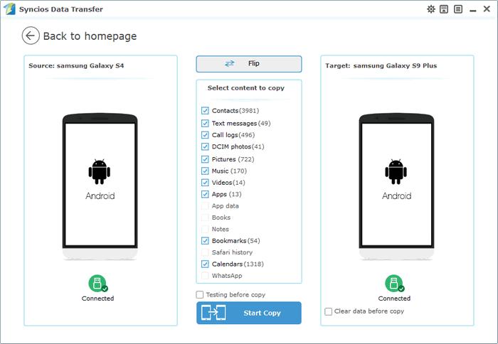 sync Samsung Galaxy S4 to Samsung Galaxy S9