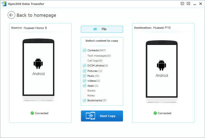 huawei honor to huawei p10 transfer step2