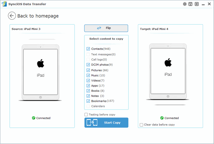Transfer data from old ipad to new iPad mini 4