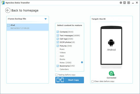 itunes to vivo v5 transfer