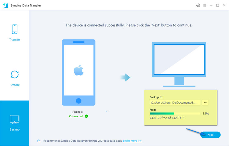 backup iPhone data to pc