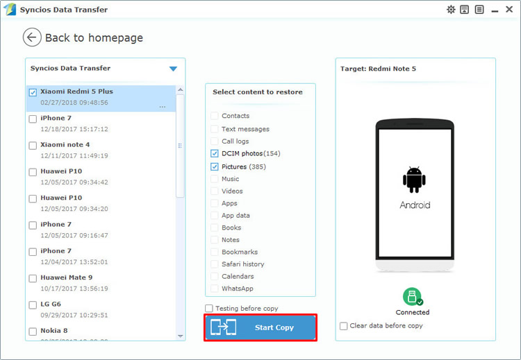 restore redmi note 5 data by syncios data transfer