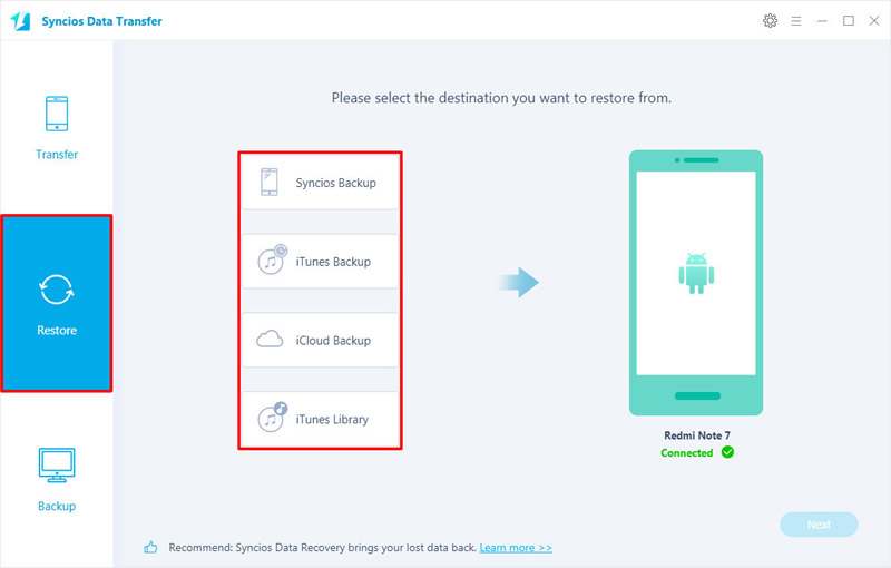 restore data to redmi note 7 in 4 mode