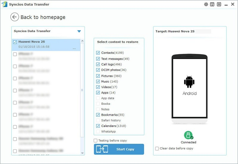 restore Huawei Nova 2S from PC