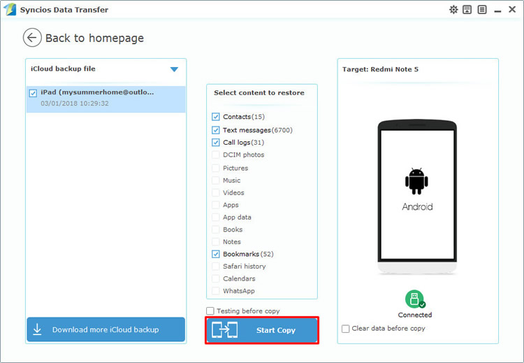 restore icloud backup to redmi note 5
