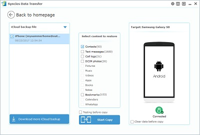 How to Restore iCloud Contacts to Android Phone - Syncios