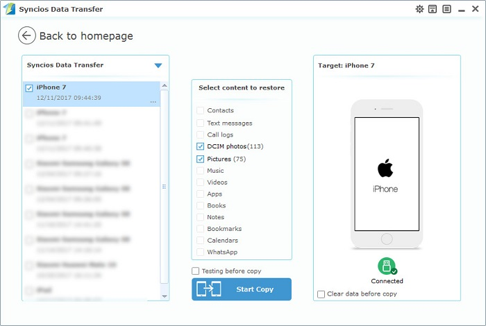 restore iphone 7 photos from computer with one-click