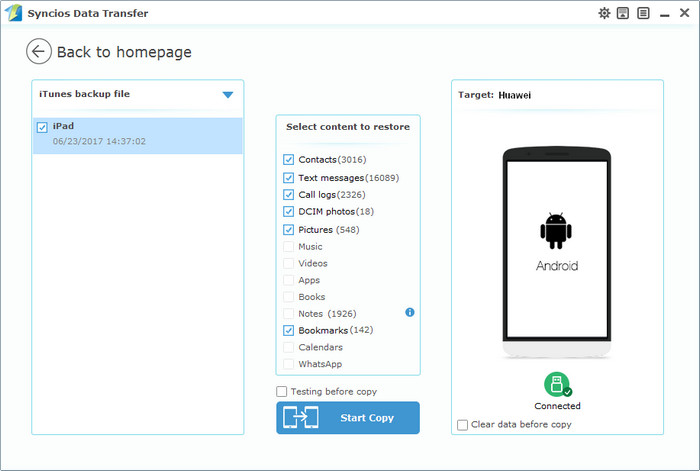 itunes backup to Huawei Mate 10