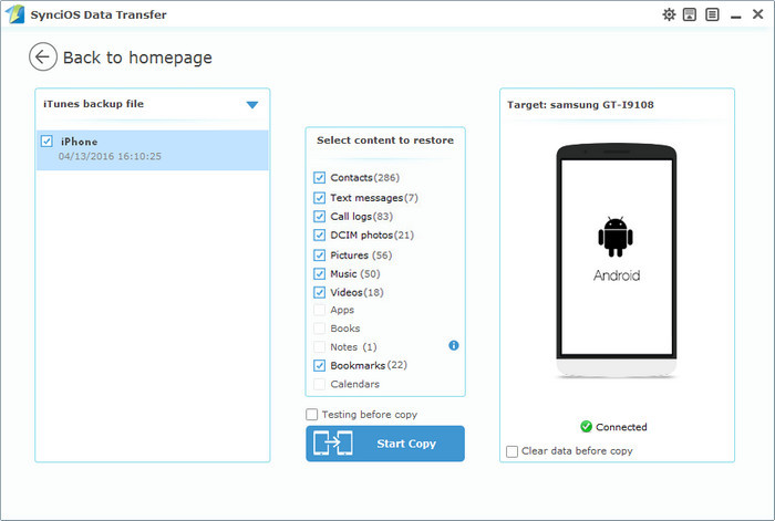 restore contacts from itunes to android