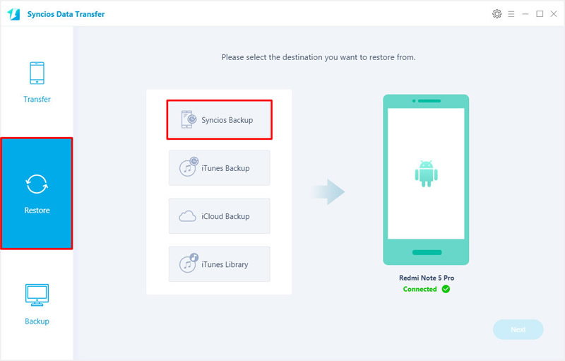 restore music backups to redmi note 5 pro step 1