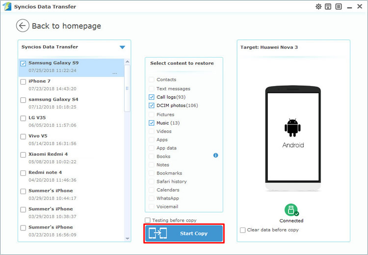 restore samsung data to huawei nova 3